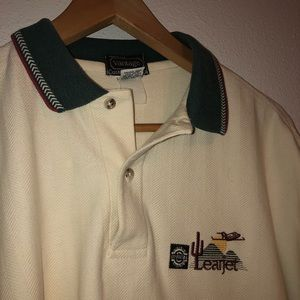 Vintage made in USA Lear jets polo shirt large